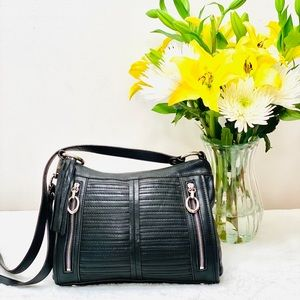 🌹B. Makowsky Stylish Leather Crossbody, Black